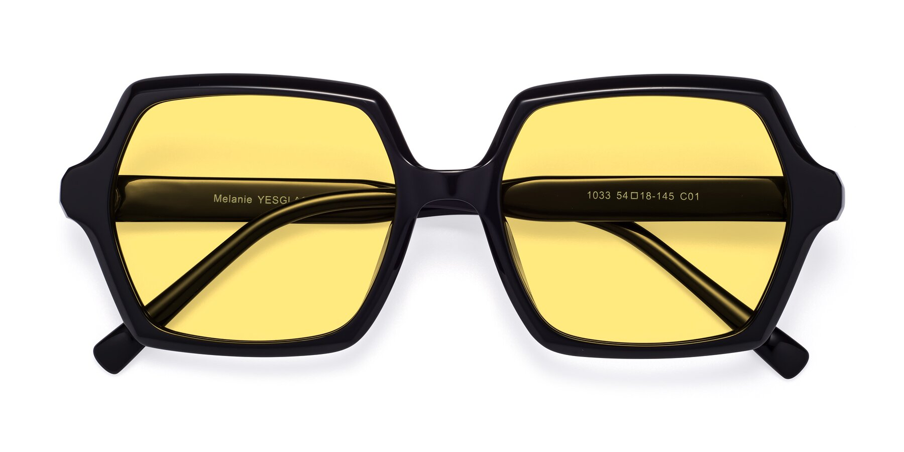 Folded Front of Melanie in Black with Medium Yellow Tinted Lenses