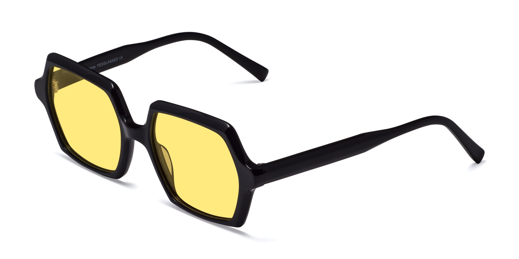 Angle of Melanie in Black with Medium Yellow Tinted Lenses
