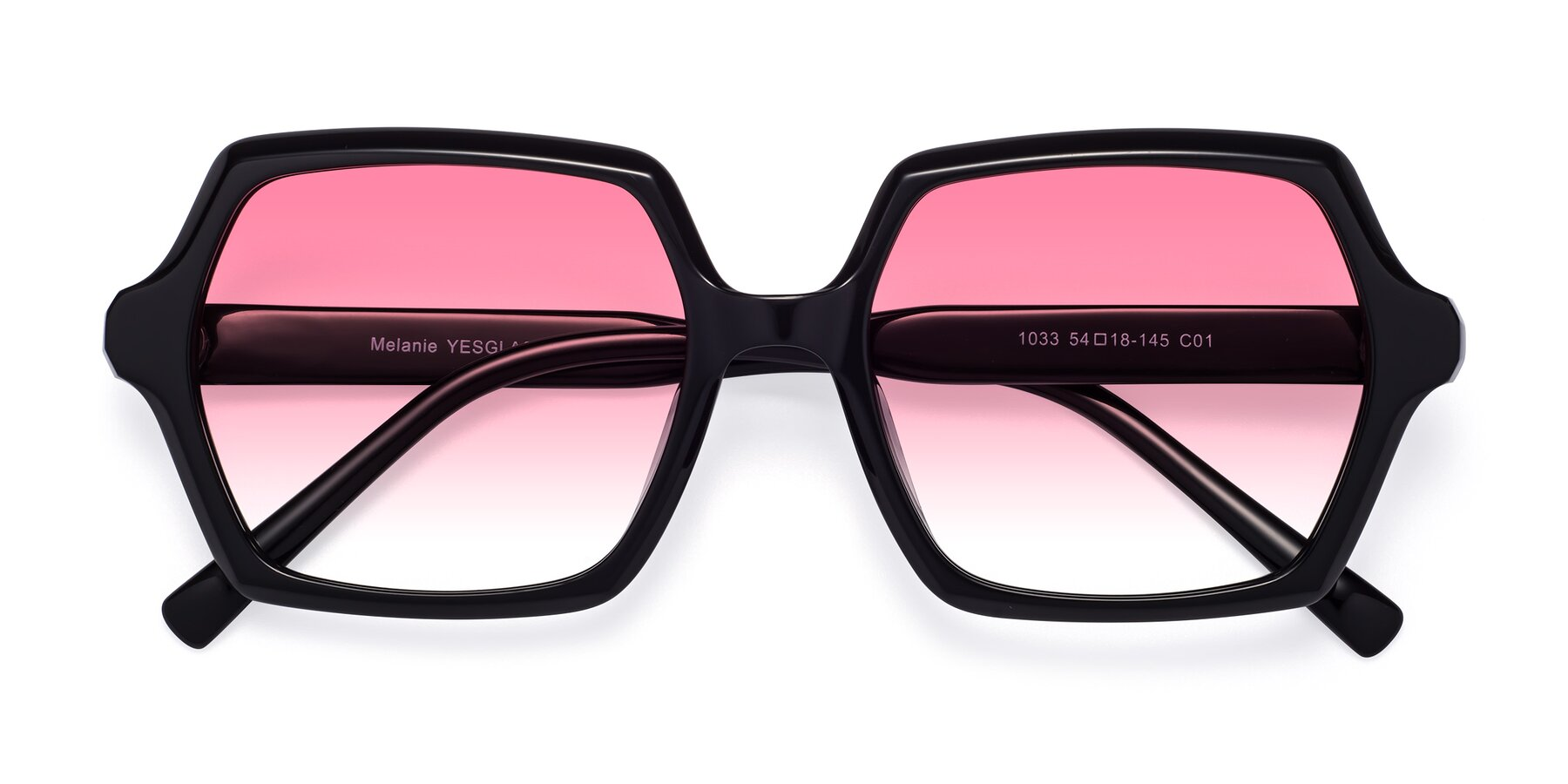 Folded Front of Melanie in Black with Pink Gradient Lenses