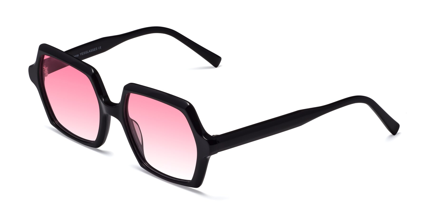 Angle of Melanie in Black with Pink Gradient Lenses
