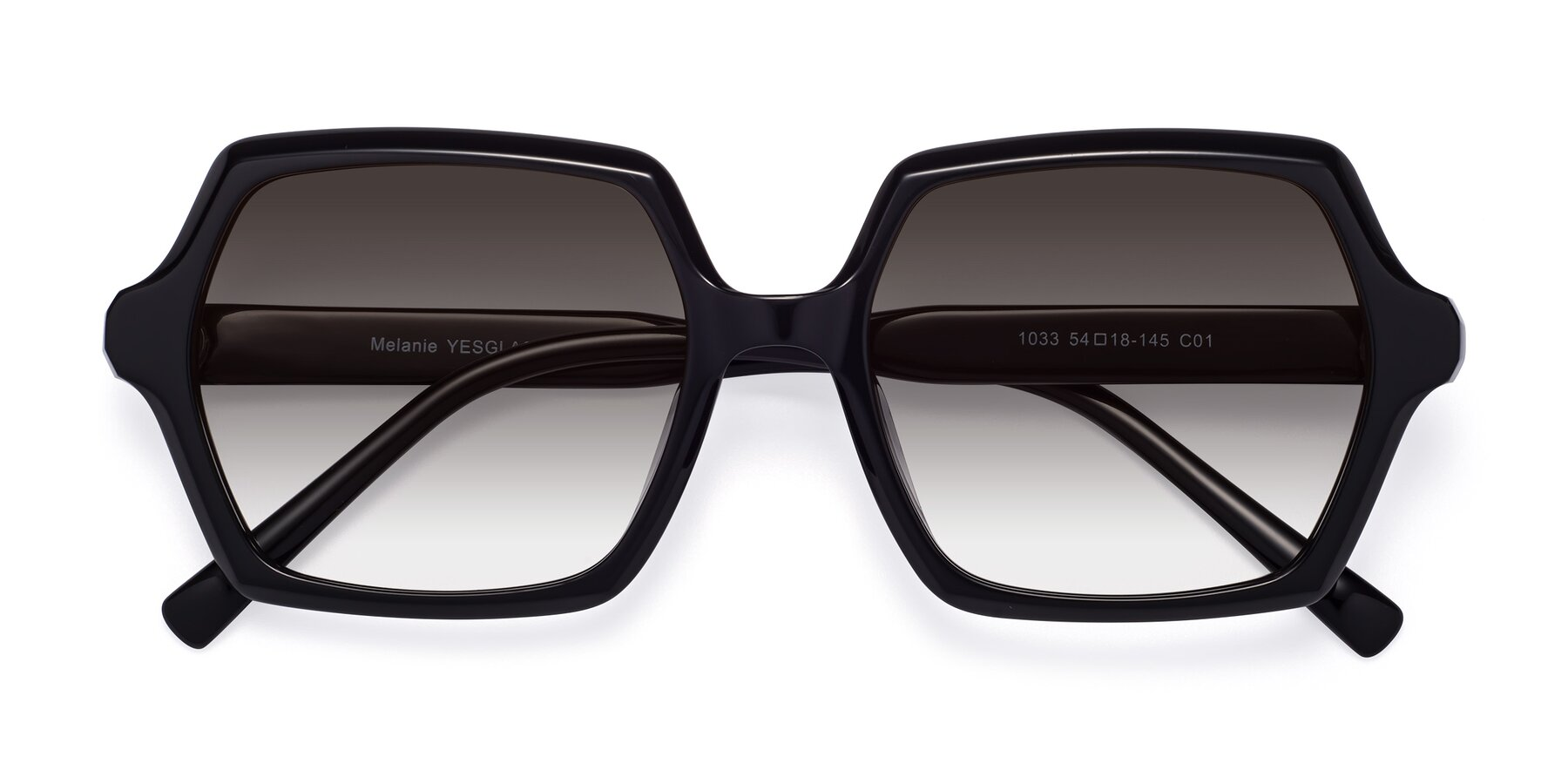 Folded Front of Melanie in Black with Gray Gradient Lenses