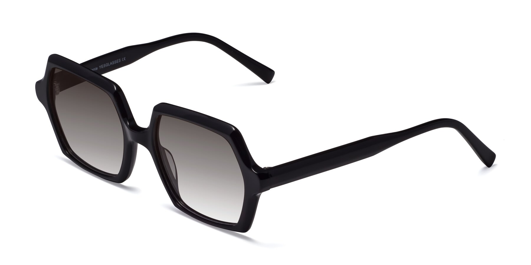 Angle of Melanie in Black with Gray Gradient Lenses