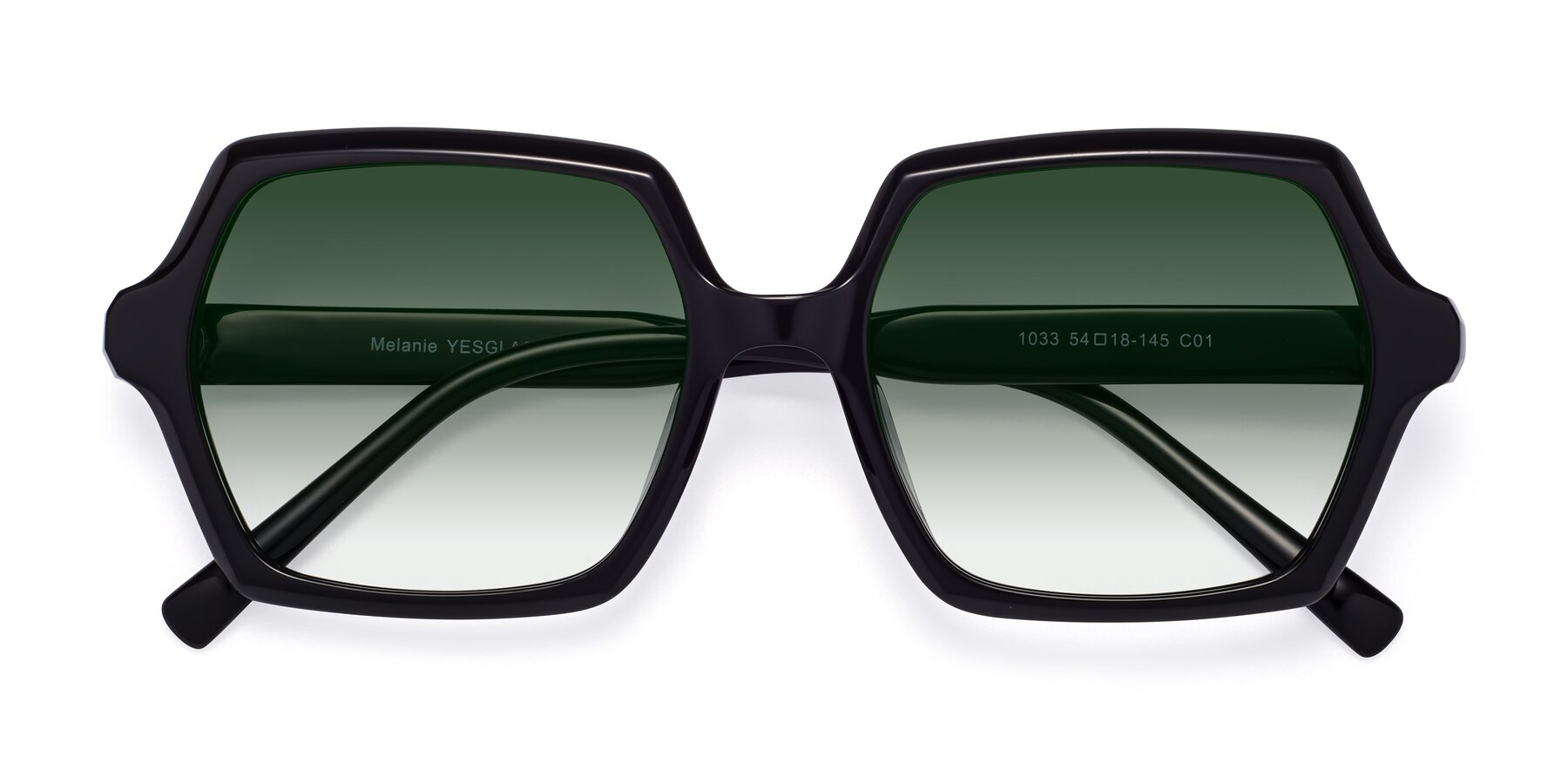 Folded Front of Melanie in Black with Green Gradient Lenses