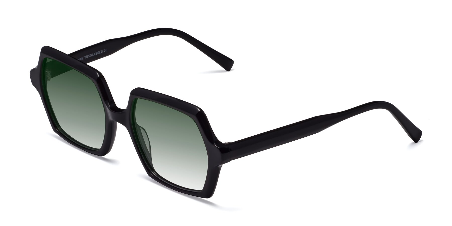 Angle of Melanie in Black with Green Gradient Lenses
