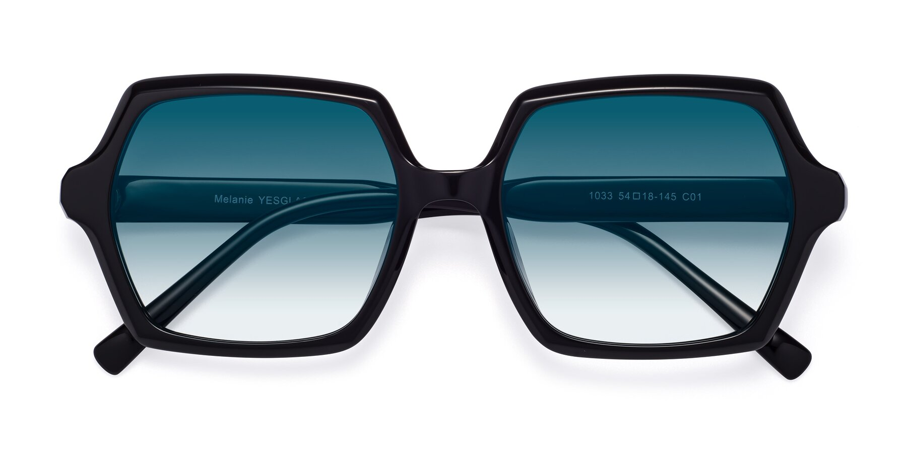 Folded Front of Melanie in Black with Blue Gradient Lenses