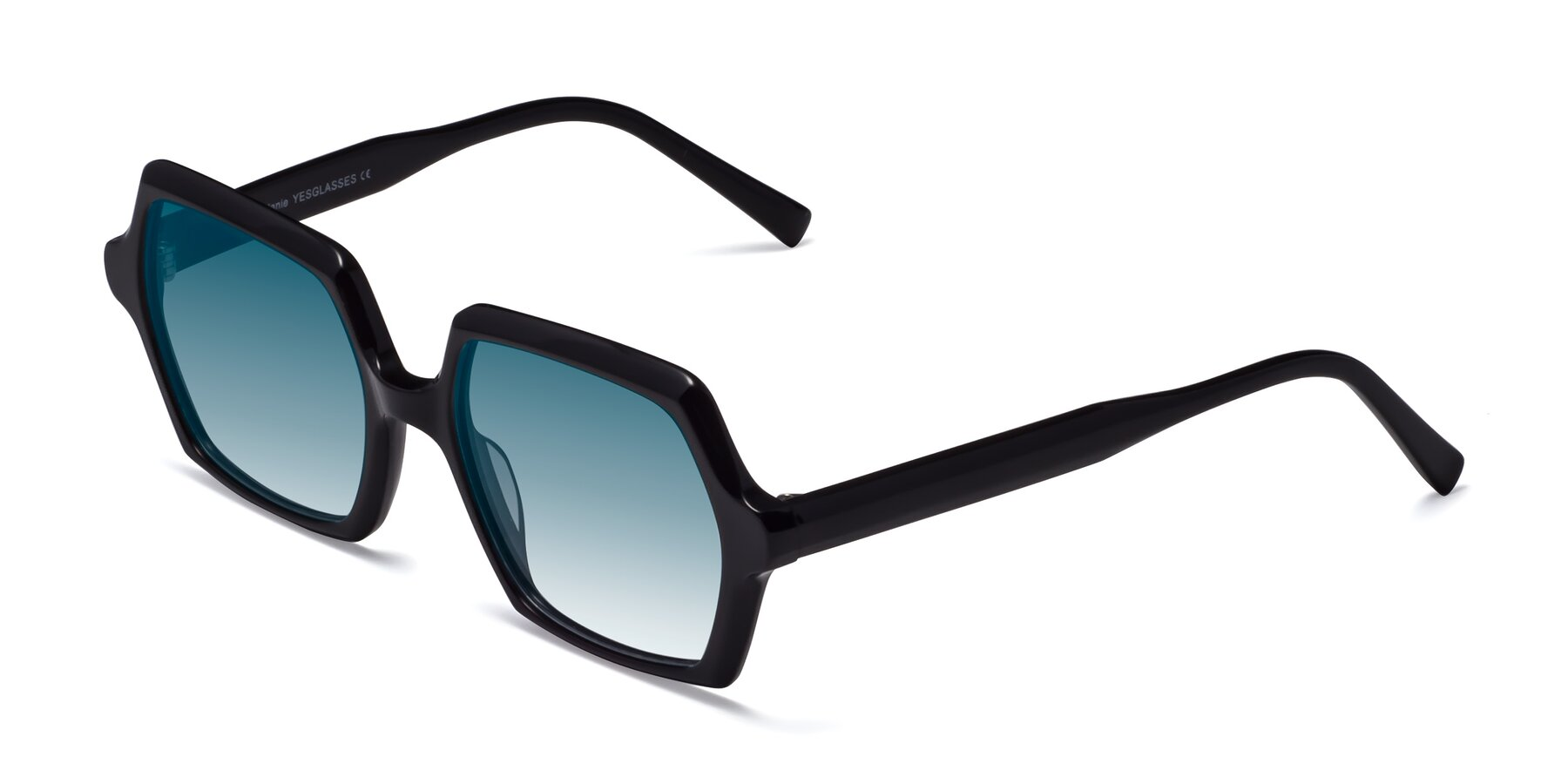 Angle of Melanie in Black with Blue Gradient Lenses