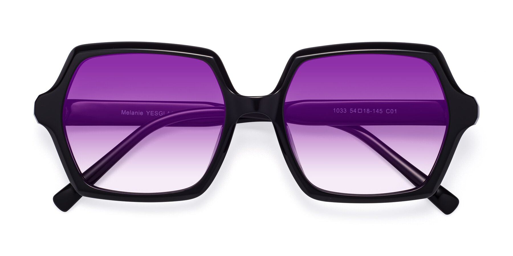 Folded Front of Melanie in Black with Purple Gradient Lenses