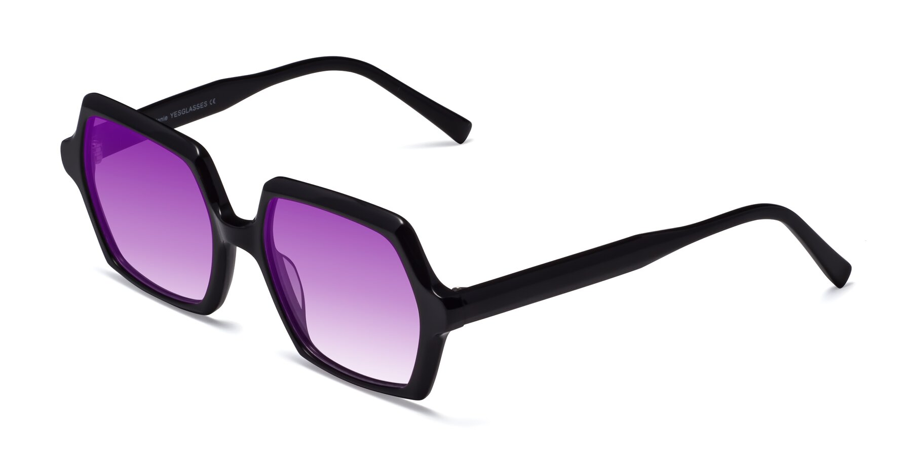 Angle of Melanie in Black with Purple Gradient Lenses
