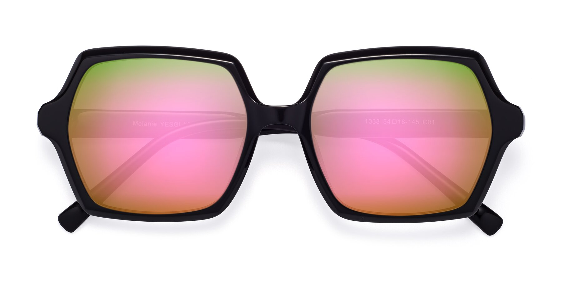 Folded Front of Melanie in Black with Pink Mirrored Lenses