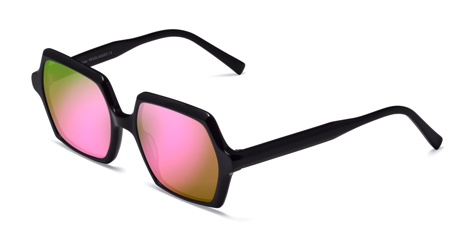 Angle of Melanie in Black with Pink Mirrored Lenses