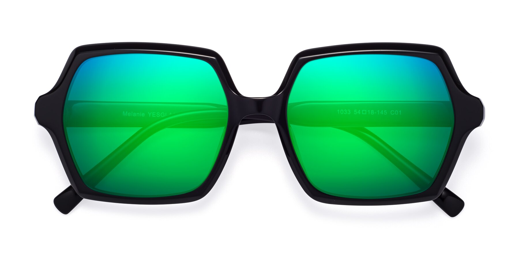 Folded Front of Melanie in Black with Green Mirrored Lenses
