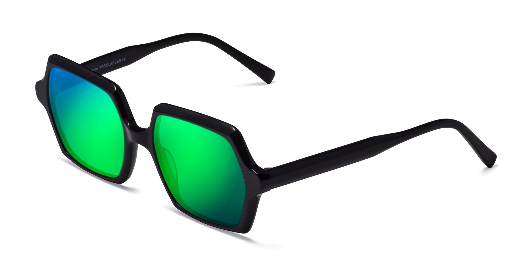 Angle of Melanie in Black with Green Mirrored Lenses