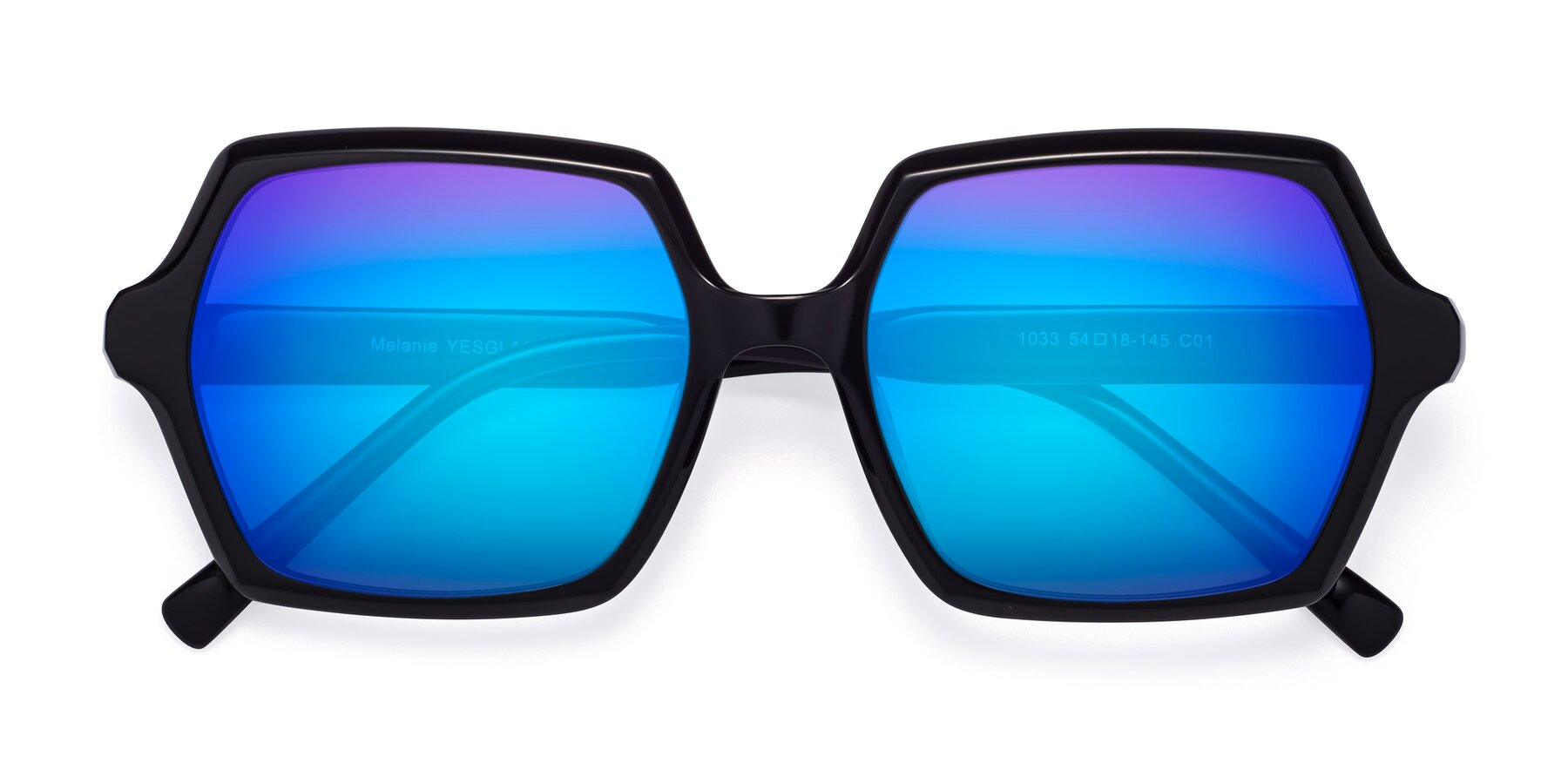 Folded Front of Melanie in Black with Blue Mirrored Lenses