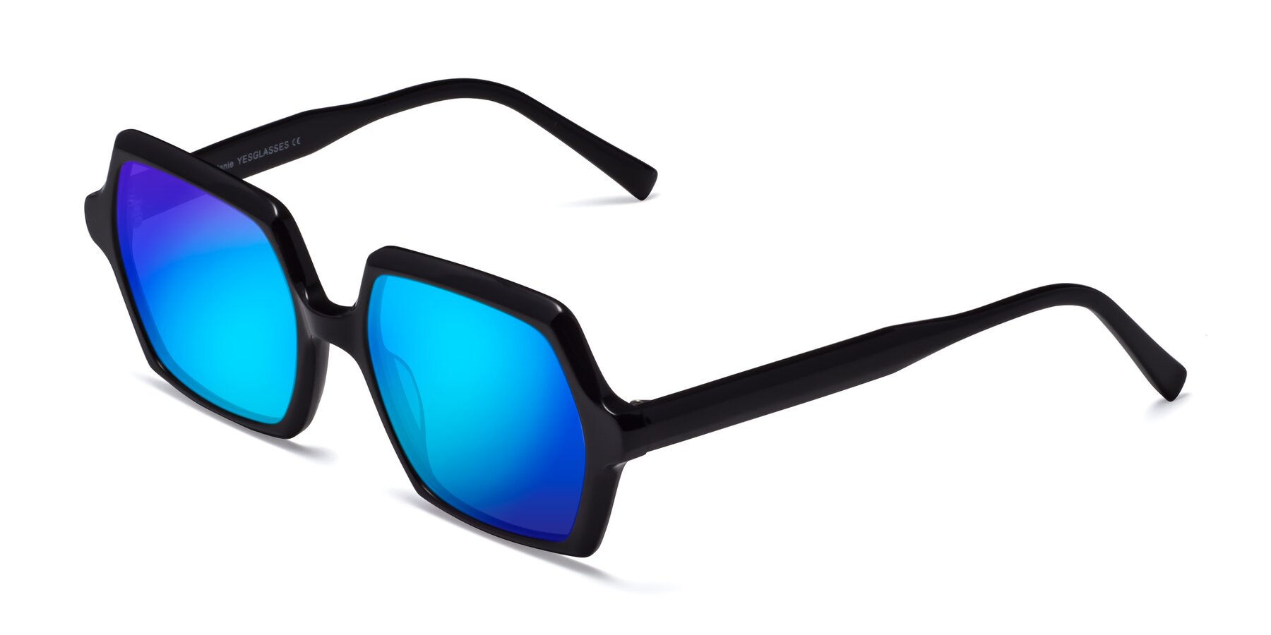 Angle of Melanie in Black with Blue Mirrored Lenses