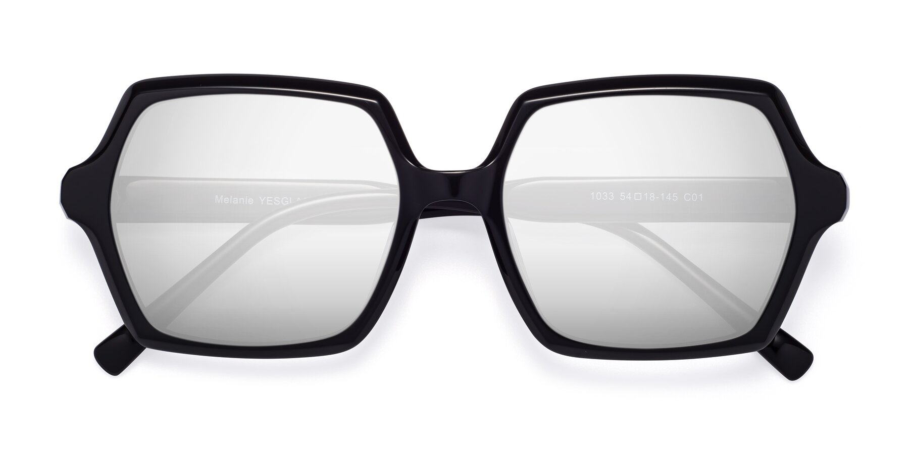 Folded Front of Melanie in Black with Silver Mirrored Lenses