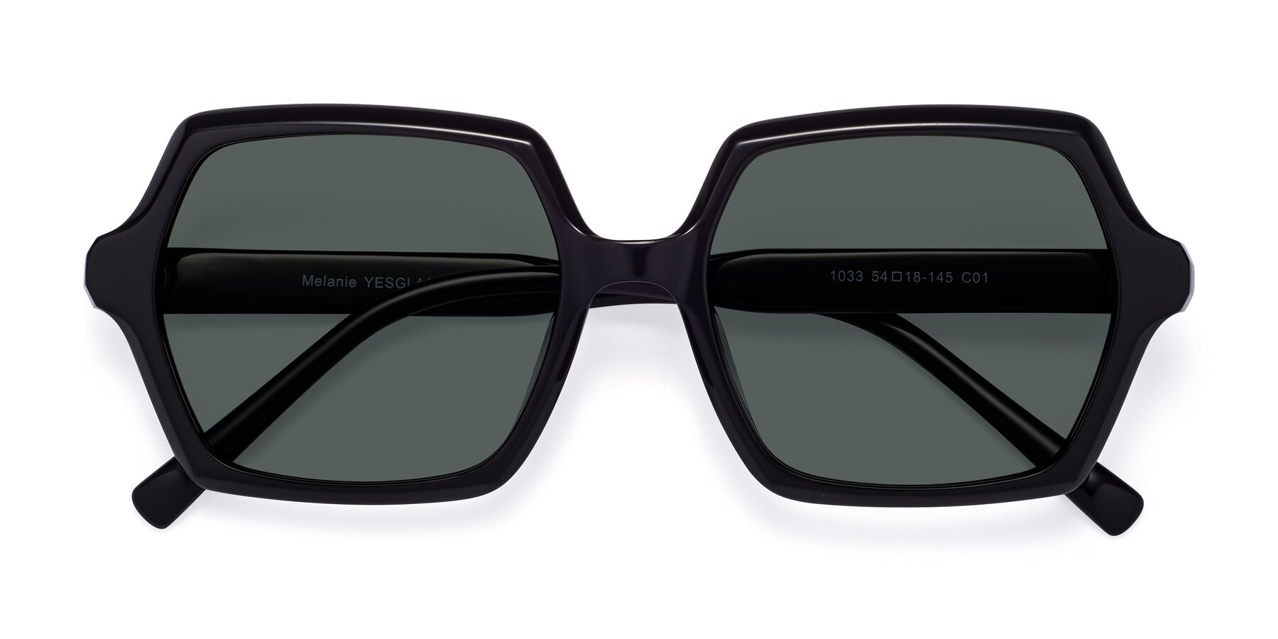Folded Front of Melanie in Black with Gray Polarized Lenses