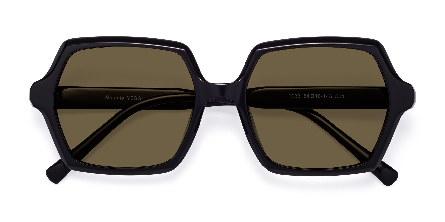 Folded Front of Melanie in Black with Brown Polarized Lenses