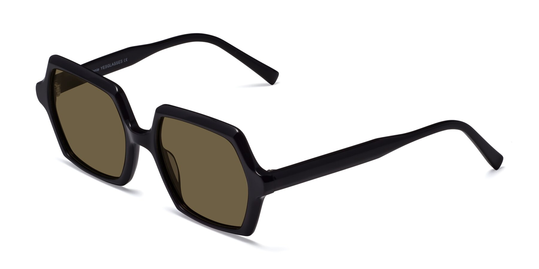 Angle of Melanie in Black with Brown Polarized Lenses
