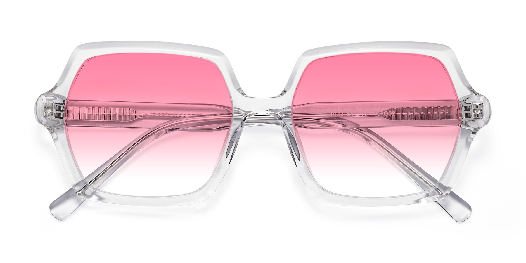 Folded Front of Melanie in Clear with Pink Gradient Lenses