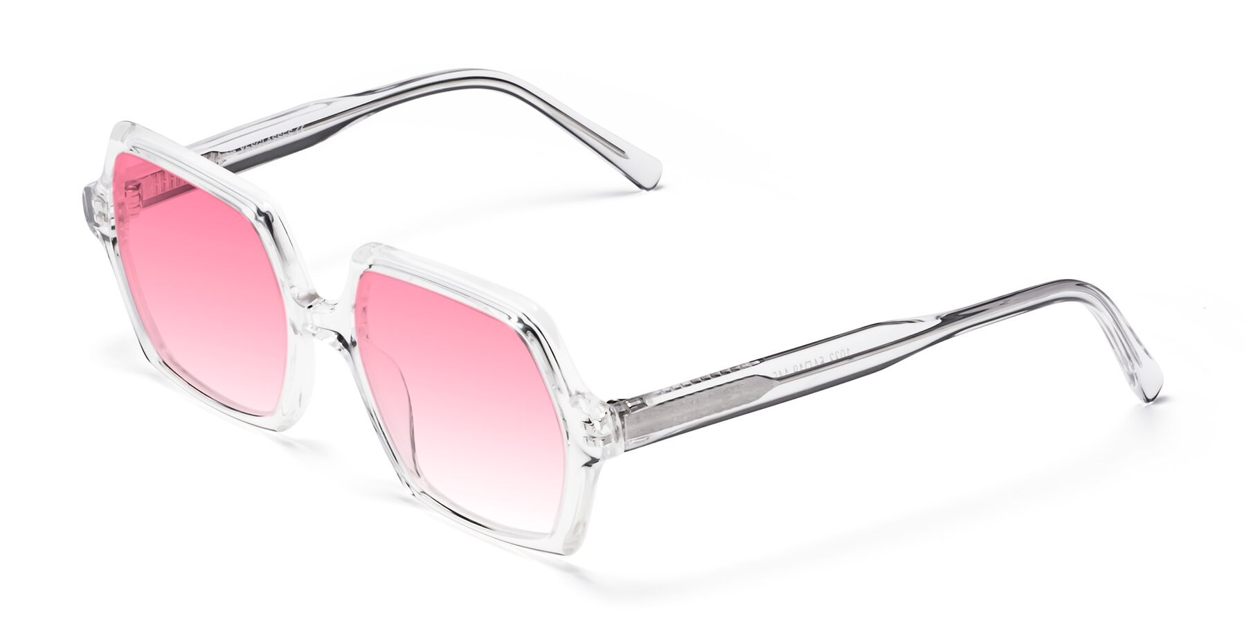 Angle of Melanie in Clear with Pink Gradient Lenses