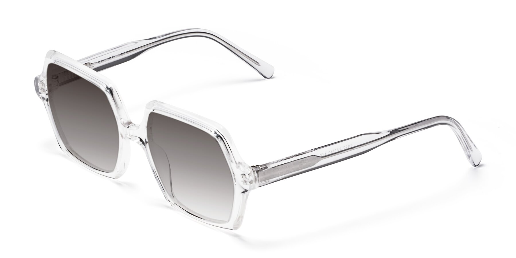Angle of Melanie in Clear with Gray Gradient Lenses
