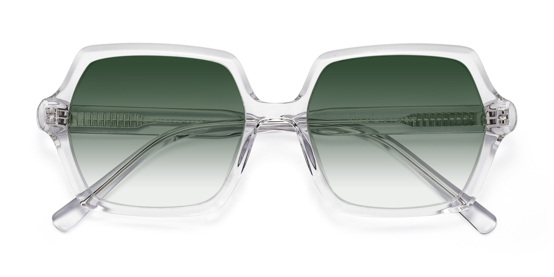 Folded Front of Melanie in Clear with Green Gradient Lenses