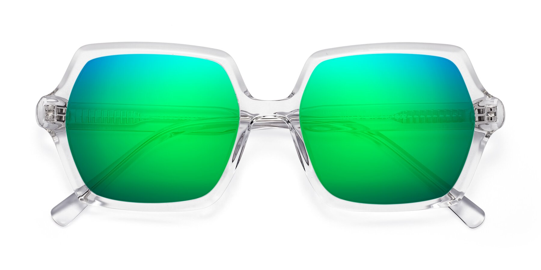Folded Front of Melanie in Clear with Green Mirrored Lenses