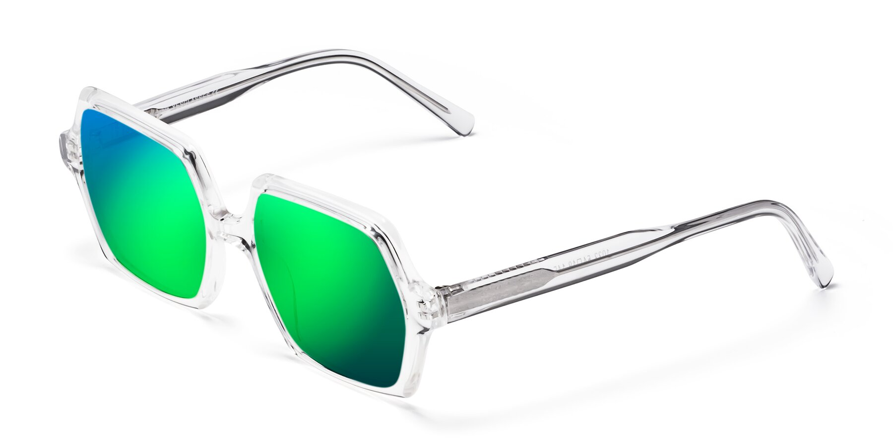 Angle of Melanie in Clear with Green Mirrored Lenses
