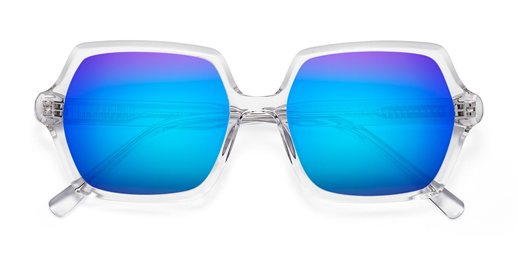 Folded Front of Melanie in Clear with Blue Mirrored Lenses