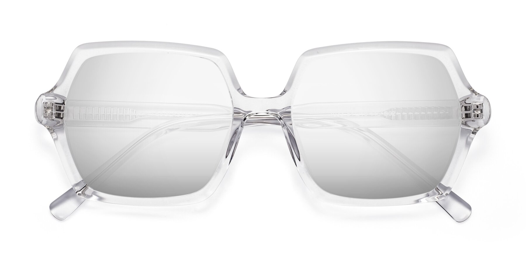 Folded Front of Melanie in Clear with Silver Mirrored Lenses