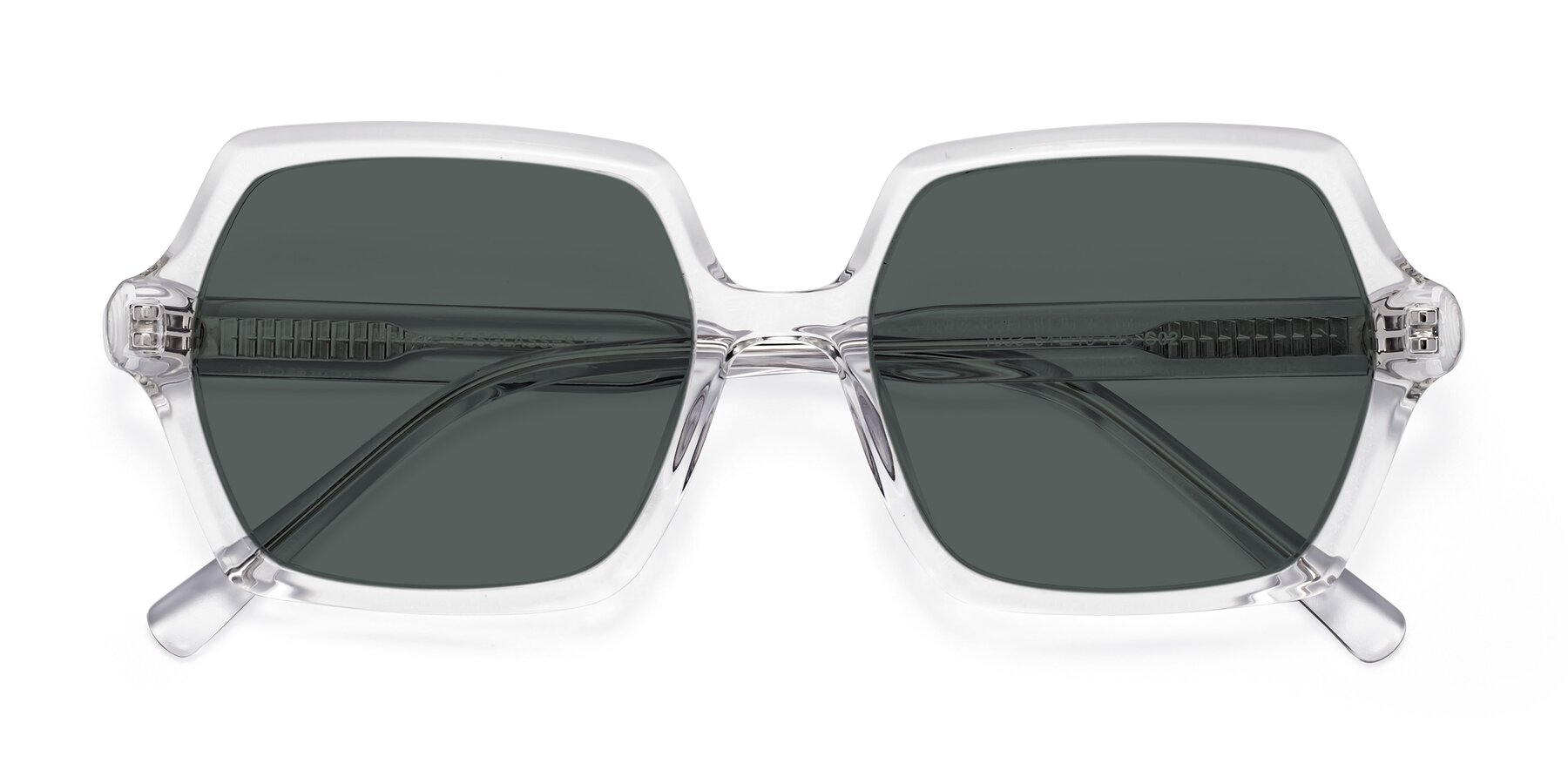 Folded Front of Melanie in Clear with Gray Polarized Lenses