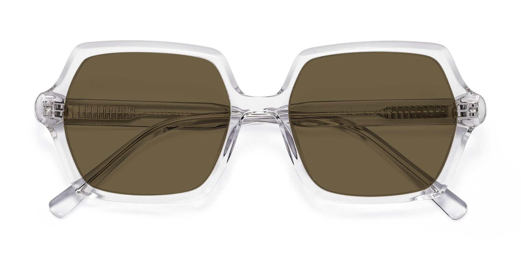 Folded Front of Melanie in Clear with Brown Polarized Lenses