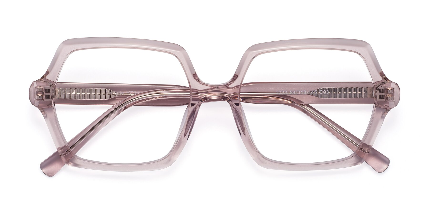 Folded Front of Melanie in Transparent Pink with Clear Eyeglass Lenses