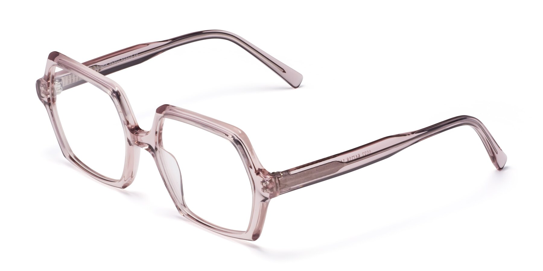 Angle of Melanie in Transparent Pink with Clear Eyeglass Lenses