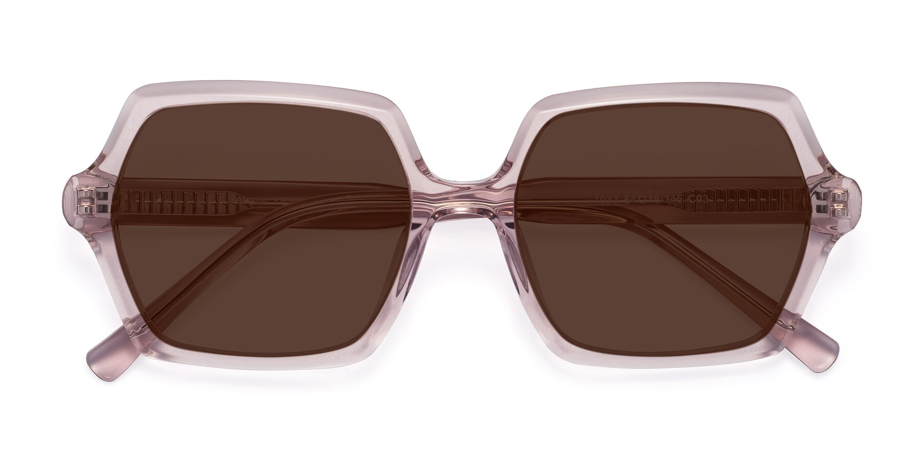 Folded Front of Melanie in Transparent Pink with Brown Tinted Lenses