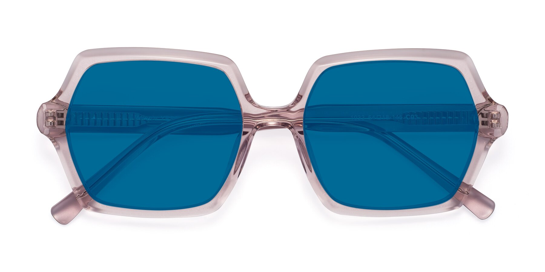 Folded Front of Melanie in Transparent Pink with Blue Tinted Lenses