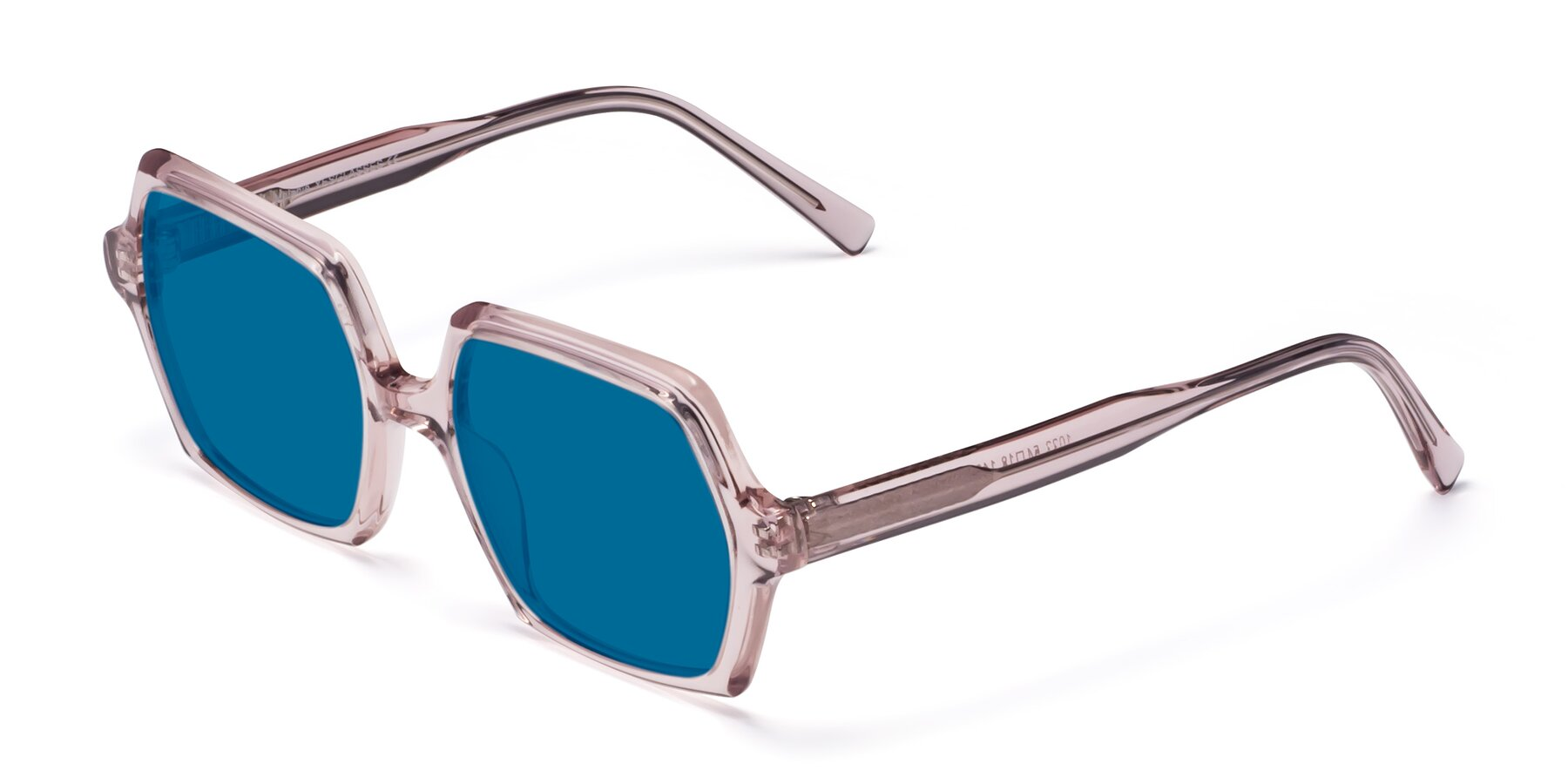 Angle of Melanie in Transparent Pink with Blue Tinted Lenses