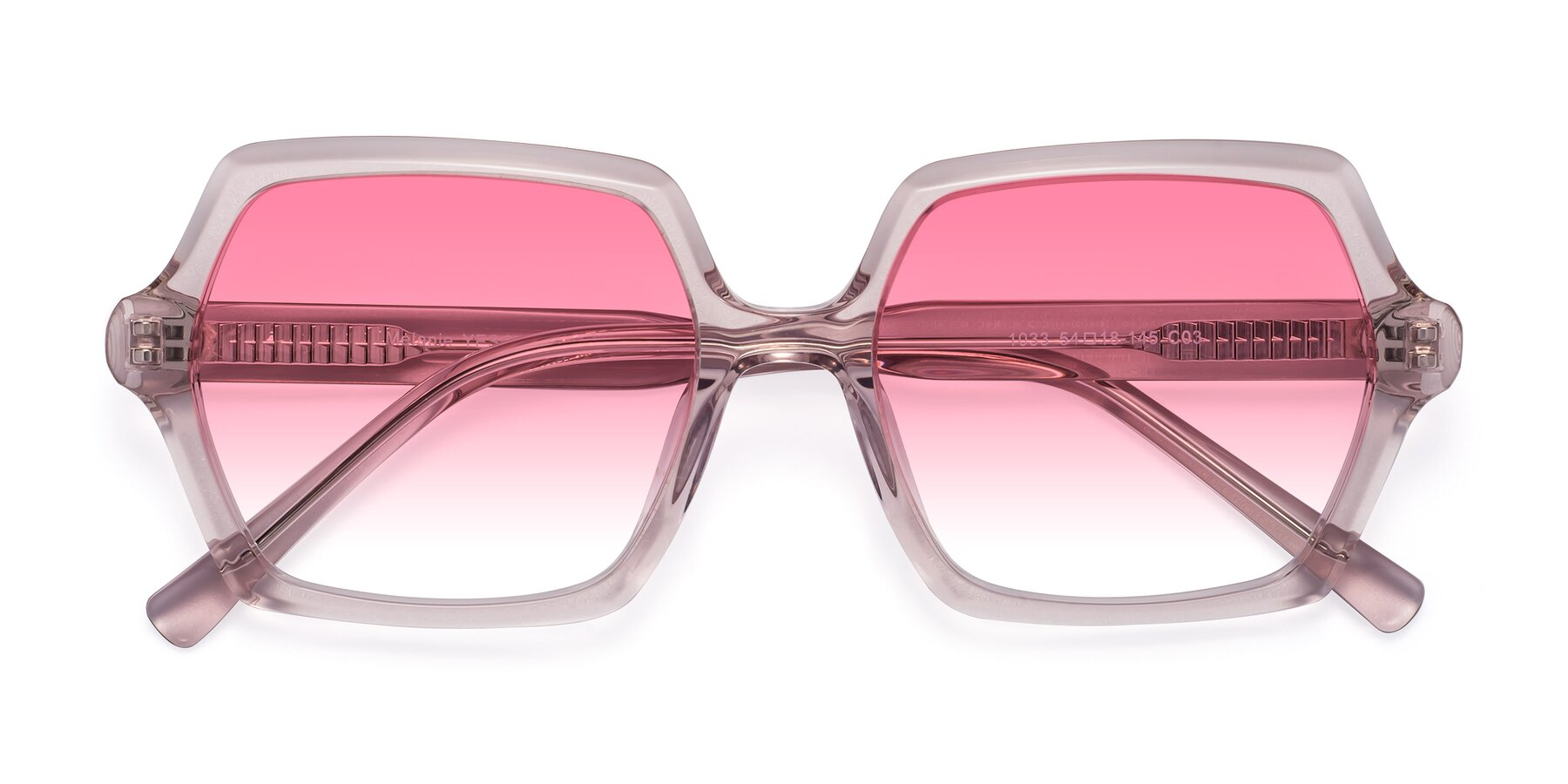 Folded Front of Melanie in Transparent Pink with Pink Gradient Lenses