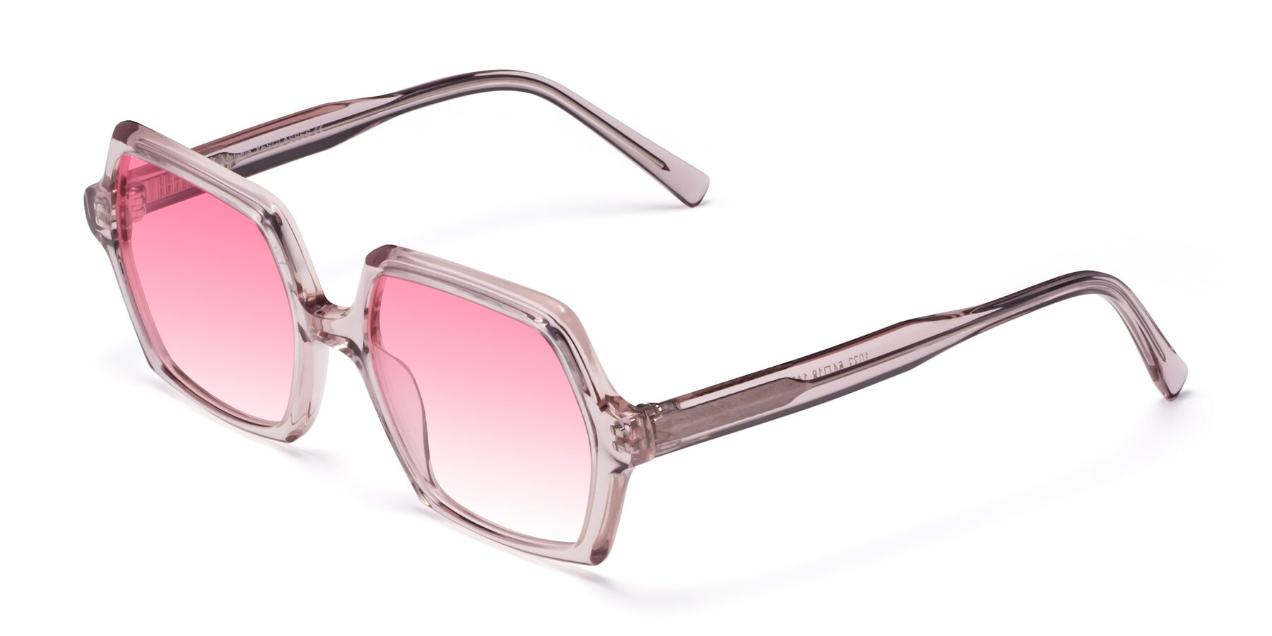Angle of Melanie in Transparent Pink with Pink Gradient Lenses