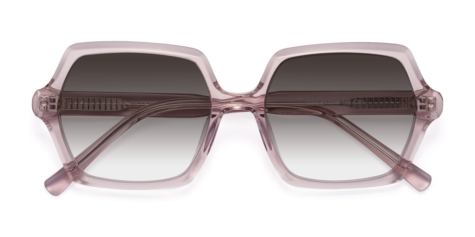 Folded Front of Melanie in Transparent Pink with Gray Gradient Lenses