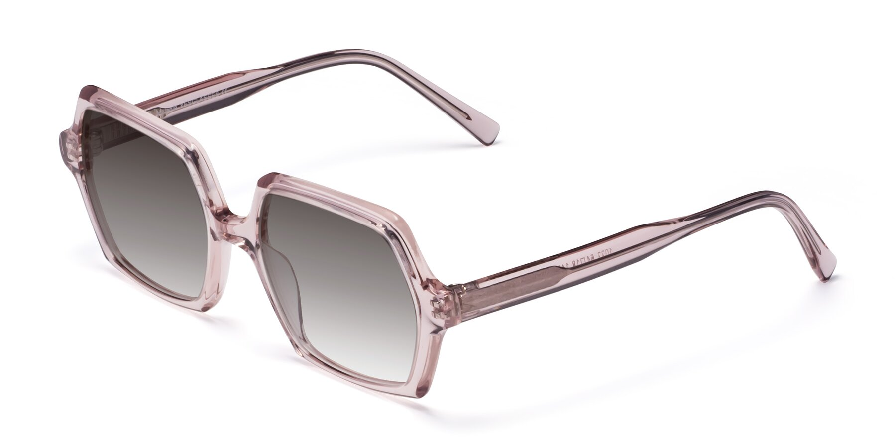 Angle of Melanie in Transparent Pink with Gray Gradient Lenses