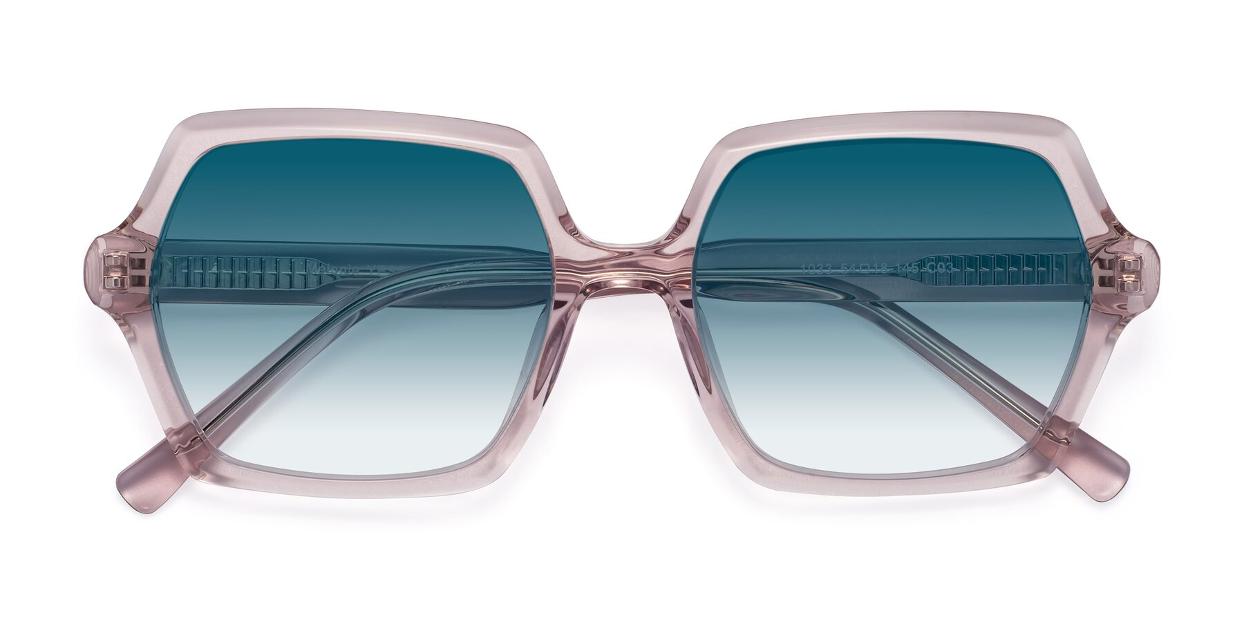 Folded Front of Melanie in Transparent Pink with Blue Gradient Lenses