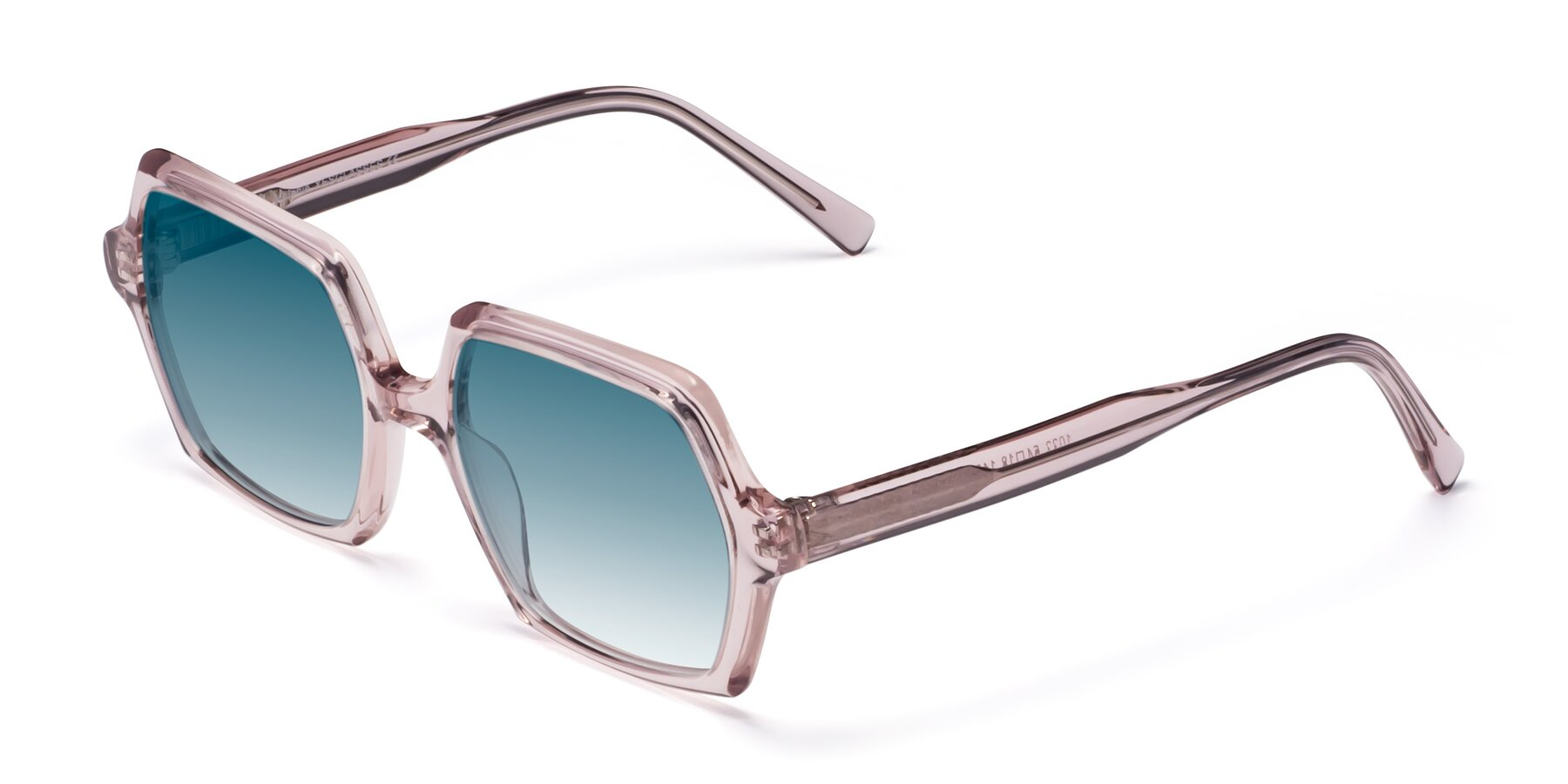 Angle of Melanie in Transparent Pink with Blue Gradient Lenses