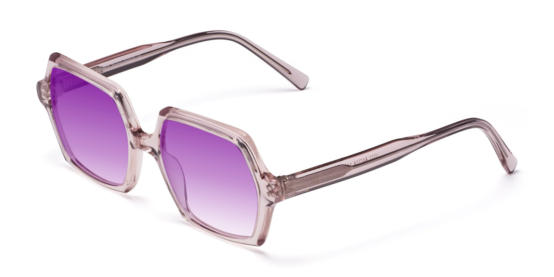 Angle of Melanie in Transparent Pink with Purple Gradient Lenses