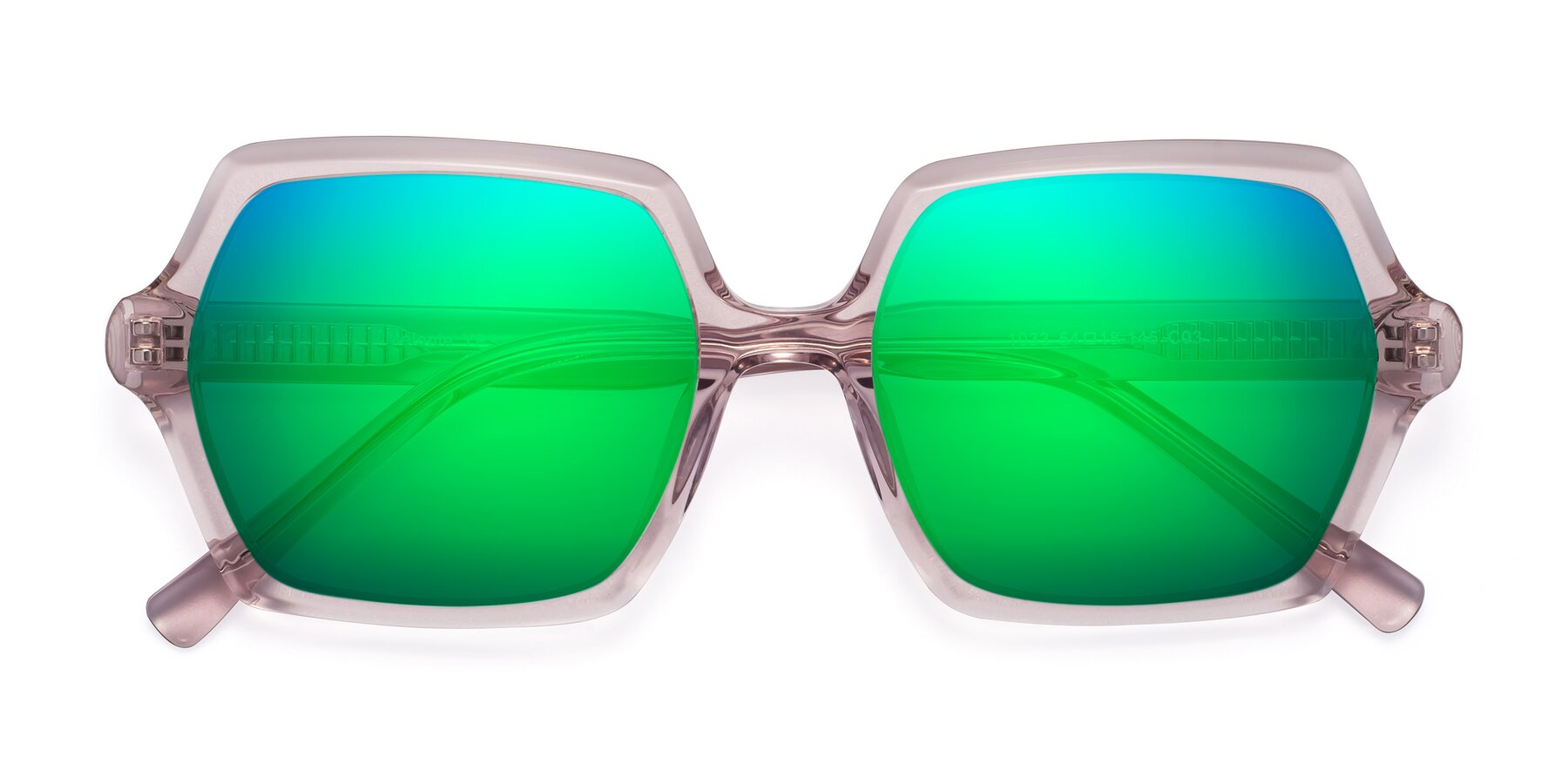 Folded Front of Melanie in Transparent Pink with Green Mirrored Lenses