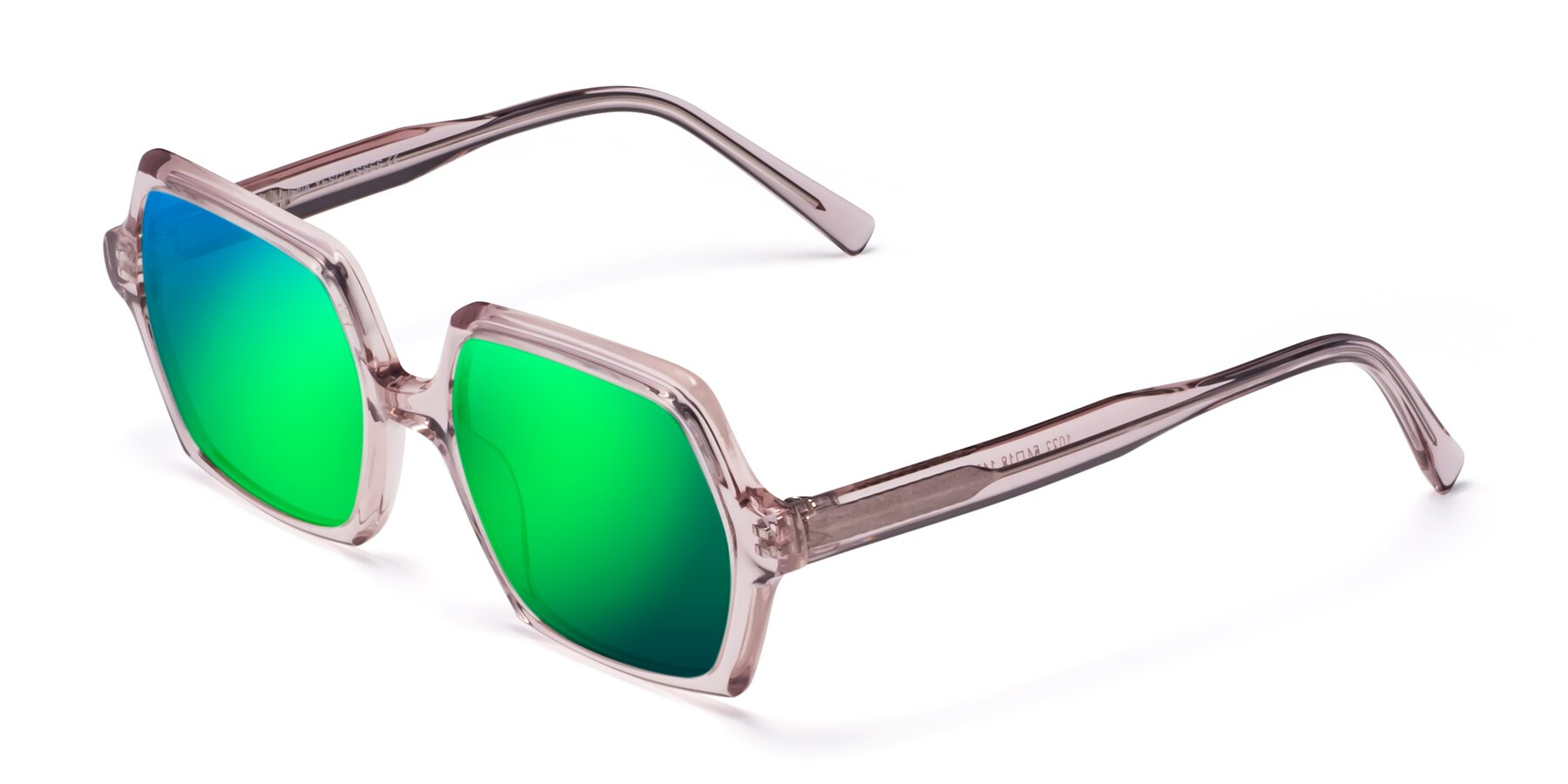 Angle of Melanie in Transparent Pink with Green Mirrored Lenses