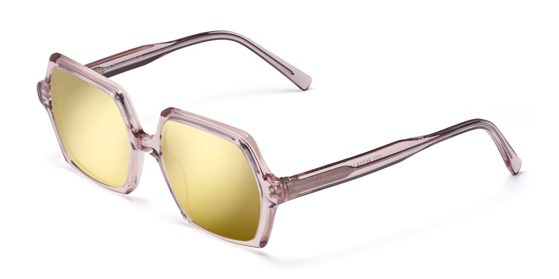 Angle of Melanie in Transparent Pink with Gold Mirrored Lenses