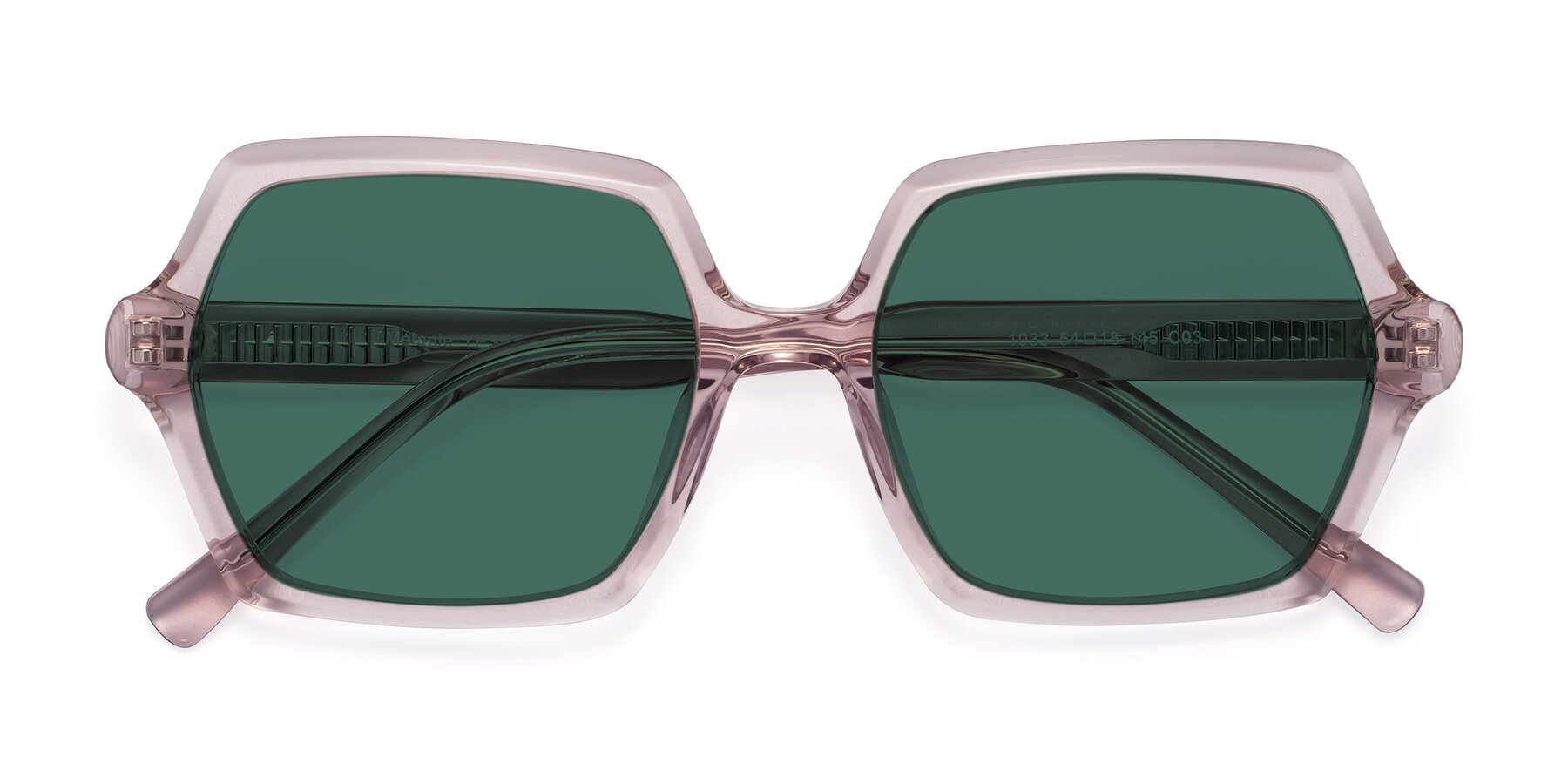 Folded Front of Melanie in Transparent Pink with Green Polarized Lenses
