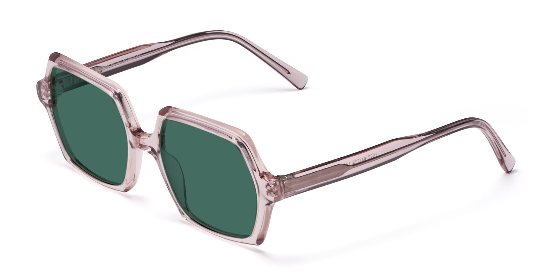 Angle of Melanie in Transparent Pink with Green Polarized Lenses