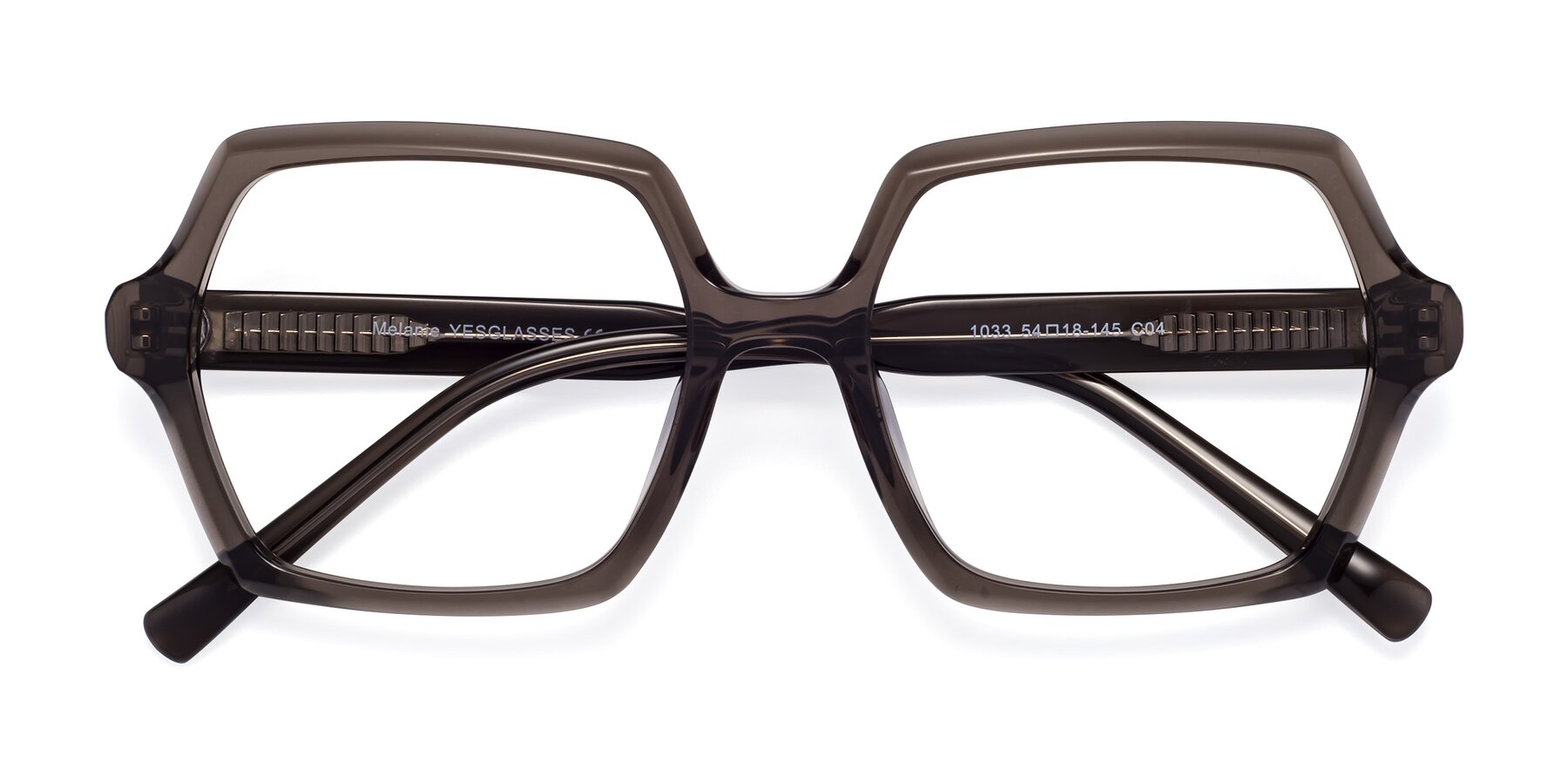 Folded Front of Melanie in Transparent Gray with Clear Blue Light Blocking Lenses